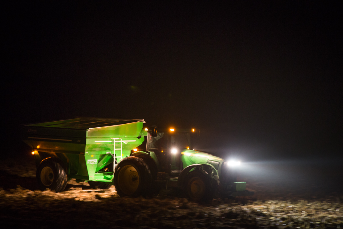 John Deere in Field at Night Motion