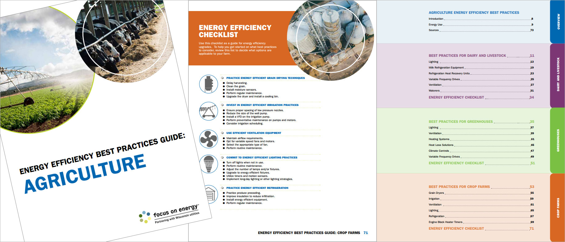 Focus on Energy Energy Agriculture Efficiency Best Practices Guidebook Cover Contents and Checklist