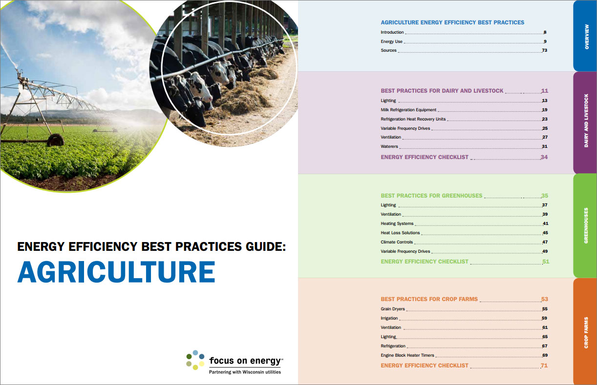 Focus on Energy Energy Agriculture Efficiency Best Practices Guidebook Cover and Contents